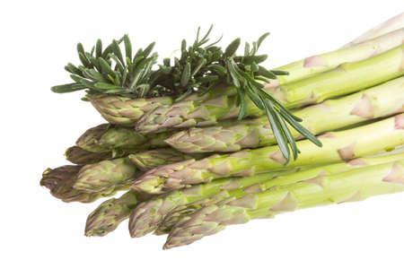 fresh asparagus spears with rosemary isolated on white. photo