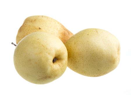 fresh nashi pear on a white background Stock Photo - 17175089