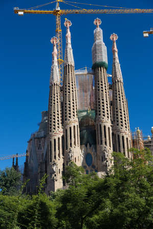 BARCELONA SPAIN - OCTOBER 28: La Sagrada Familia - the impressive cathedral designed by Gaudi, which is being build since 19 March 1882 and is not finished yet October 28, 2012 in Barcelona, Spain.