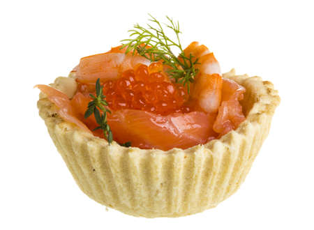 salmon appetizer with red caviar and shrimp photo
