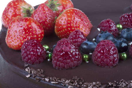 chocolate mousse cake with berries photo