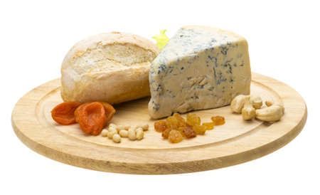 Slice of blue cheese photo