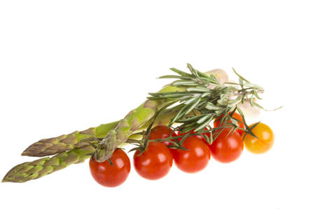 asparagus, rosemary  and tomato photo
