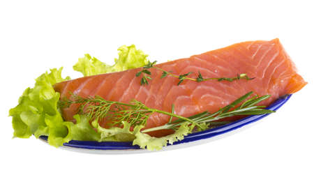 Salmon fillet garnished photo