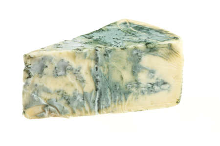 Wedge of soft blue cheese, isolated on white photo