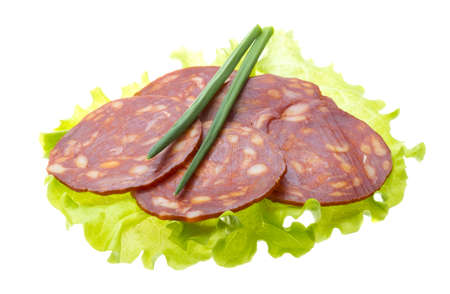 Italian sausages with salad leaves Stock Photo - 17279509