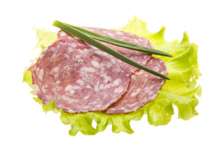 Italian sausages with salad leaves photo