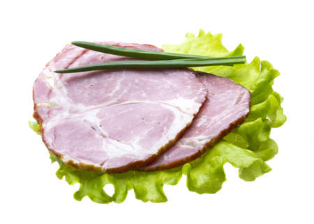 Bacon with salad leaves photo
