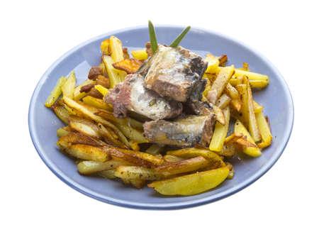 Fried potato with saury Stock Photo - 17406785