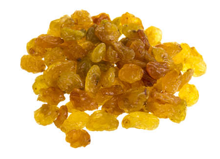 Golden raisins over white Stock Photo - 17406779