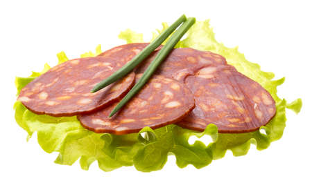 Italian sausages with salad leaves Stock Photo - 17406845