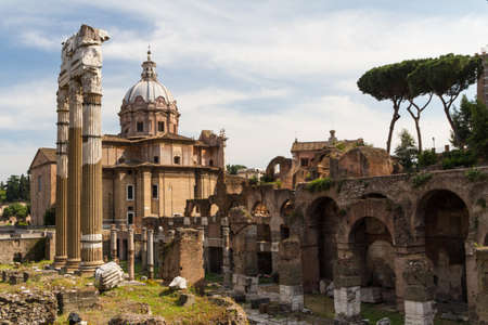 Building ruins and ancient columns  in Rome, Italy photo