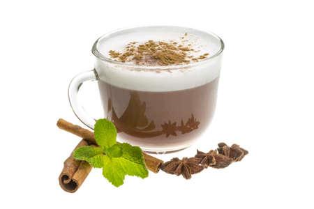 capuchino: Cofee witn milk and cinnamon Stock Photo