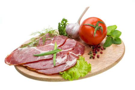 Bacon with vegetables Stock Photo