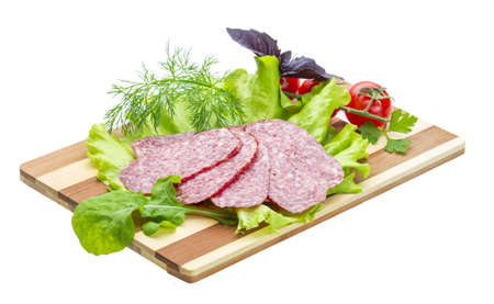 gastronome: Sausages with salad and basil