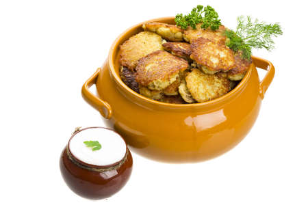 Potato pancakes with cream Stock Photo - 18606693