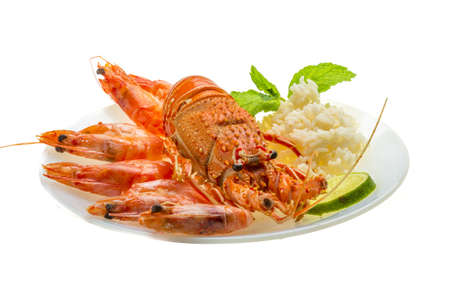 Spiny lobster, shrimps and rice Stock Photo - 18752732