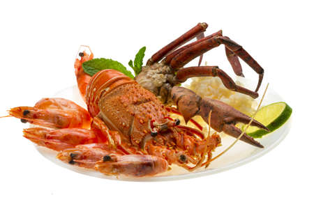 decapods: Spiny lobster, shrimps, crab legs  and rice