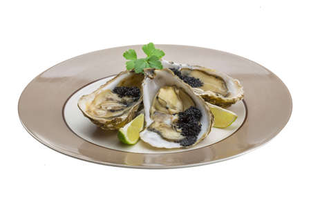 Oysters with black cavair photo