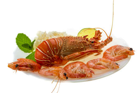 Spiny lobster, shrimps and rice Stock Photo - 19096670