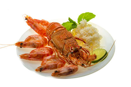 Spiny lobster, shrimps and rice Stock Photo - 19096856