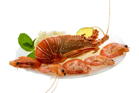 Spiny lobster, shrimps and rice Stock Photo - 19393212