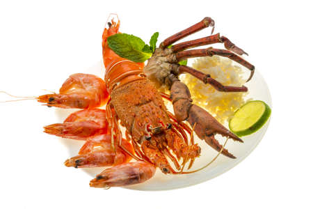 Spiny lobster, shrimps, crab legs  and rice Stock Photo - 19393951