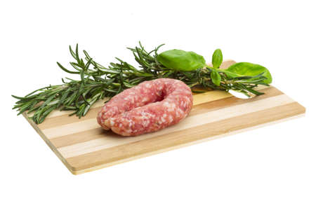 Salami with rosemary, basil photo