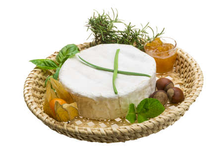 camembert witn herbs, nuts and honey photo