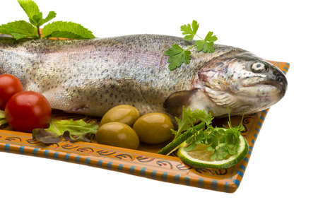 Fresh raw rainbow trout photo