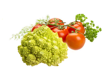 Romanesco cabbage with tomato, dill and parsley photo