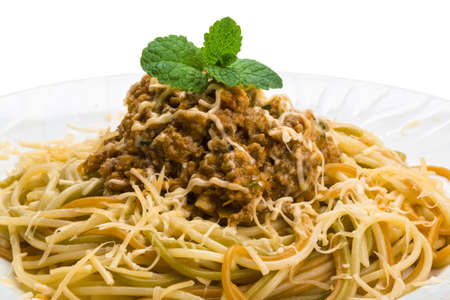 Pasta Bolognest studio macro shoot Stock Photo - 19554707