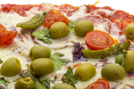 Pizza with salami photo