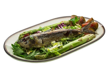 Grilled Herring with asparagus and salad photo