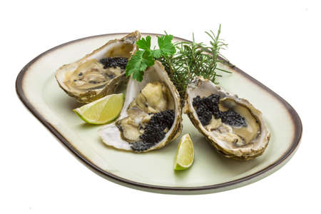 Oysters with black cavair Stock Photo - 19565601