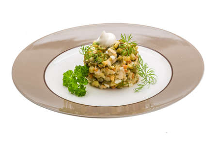 Russian salad studio shoot macro photo