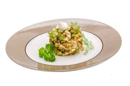 Russische salade studio shoot macro photo
