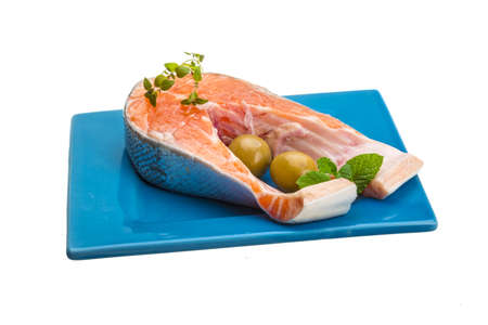 Raw Salmon steak isolated studio shoot photo