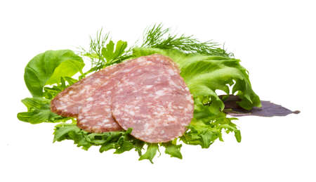 Salami with salad and basil photo