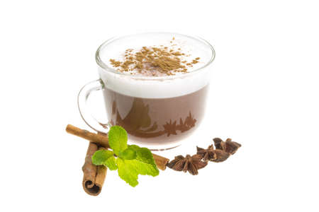 Coffee with milk and cinnamon photo