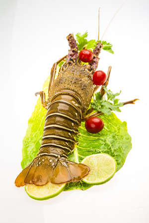 Raw spiny lobsters photo