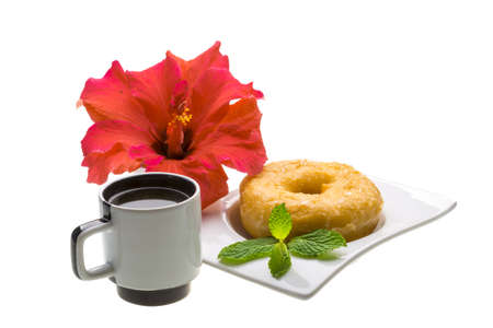 Breakfast with coffee and pastry photo