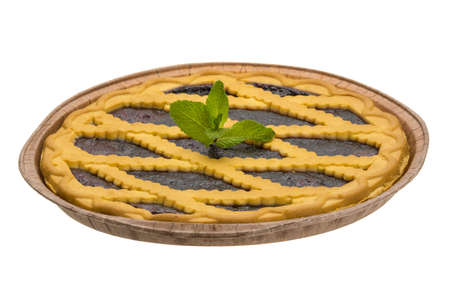 bilberry cake with mint photo