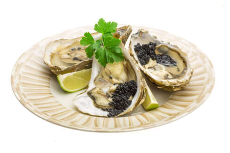 Oysters with black caviar photo