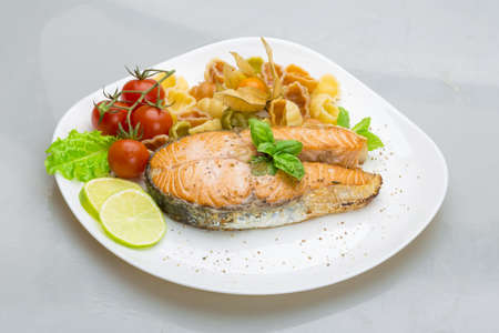 Grilled salmon with pasta photo
