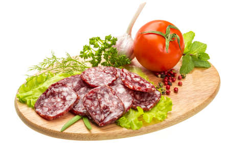 Fresh salami with vegetables photo