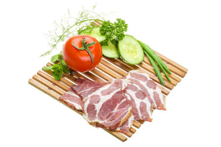Bacon with vegetables photo
