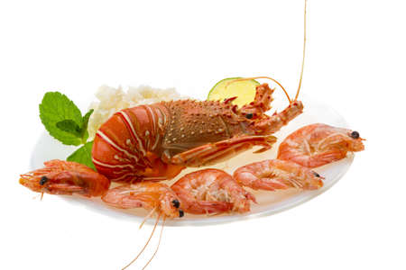Spiny lobster, shrimps and rice Stock Photo - 19794042