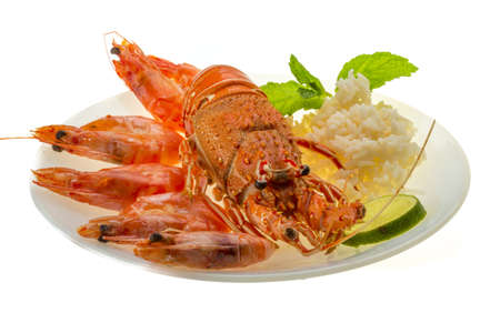 Spiny lobster, shrimps and rice Stock Photo - 19880648