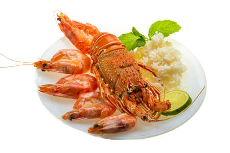 Spiny lobster, shrimps and rice Stock Photo - 20123851
